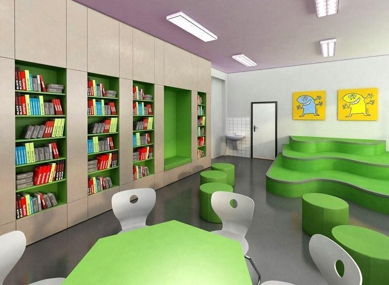 Realizace ZŠ Nováky - školní nábytek pro knihovnu a studovnu