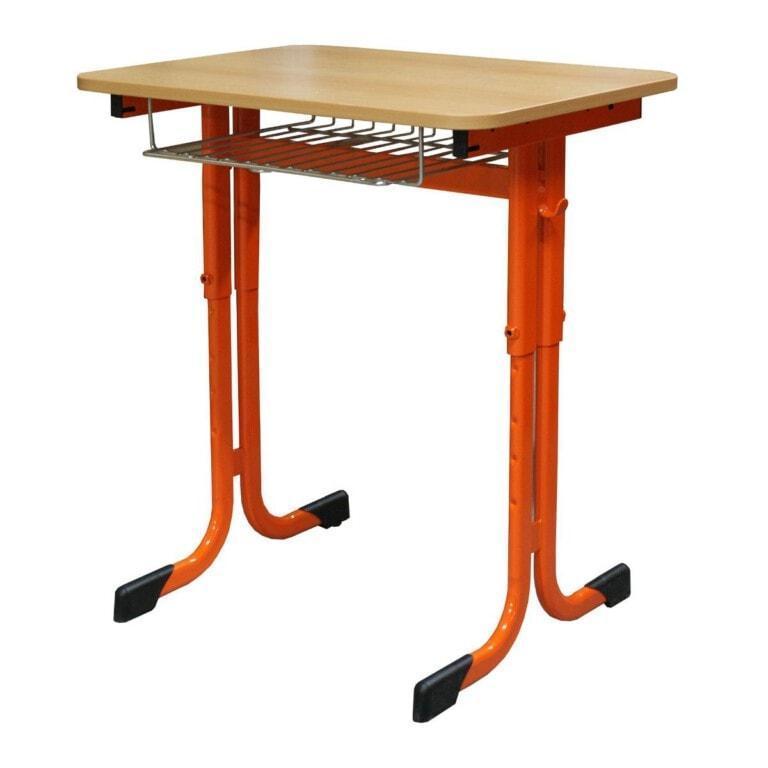 Školní lavice jednomístná Trend sklopná, výškově nastavitelná, 670x500 mm oranžová
