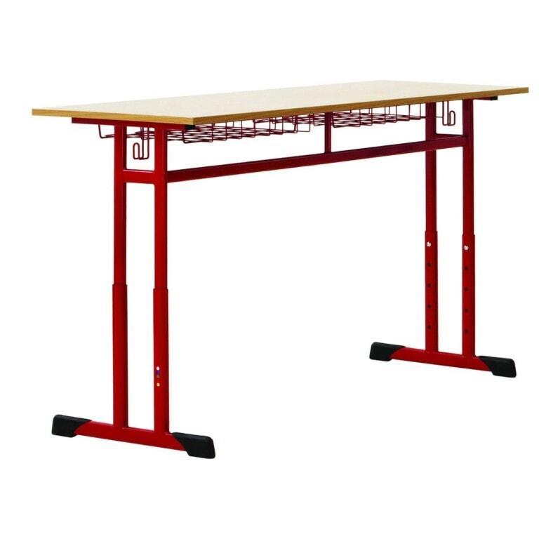 Školní lavice dvoumístná Prim, výškově nastavitelná červená