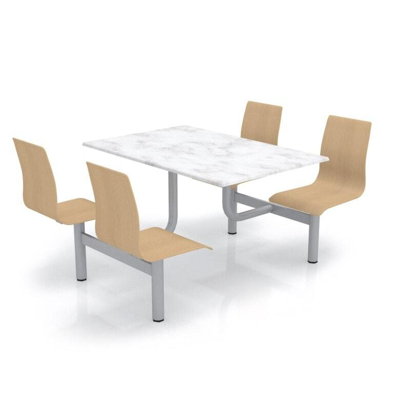 Školní jídelní set s překližkovými sedáky, deska werzalit