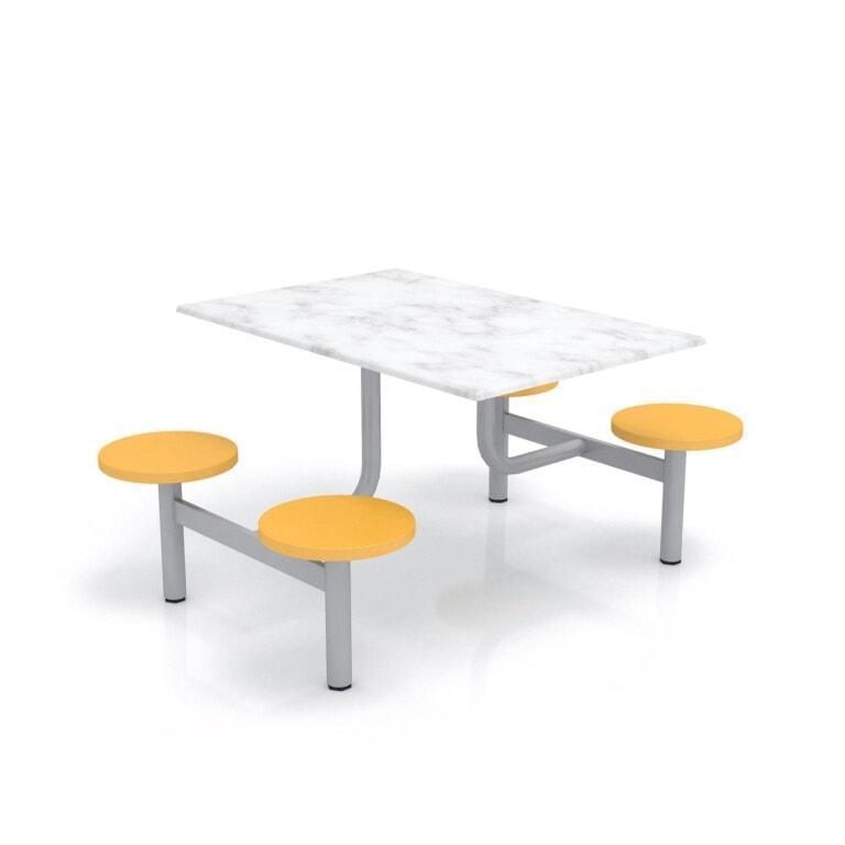 Školní jídelní set s plastovými sedáky, deska werzalit