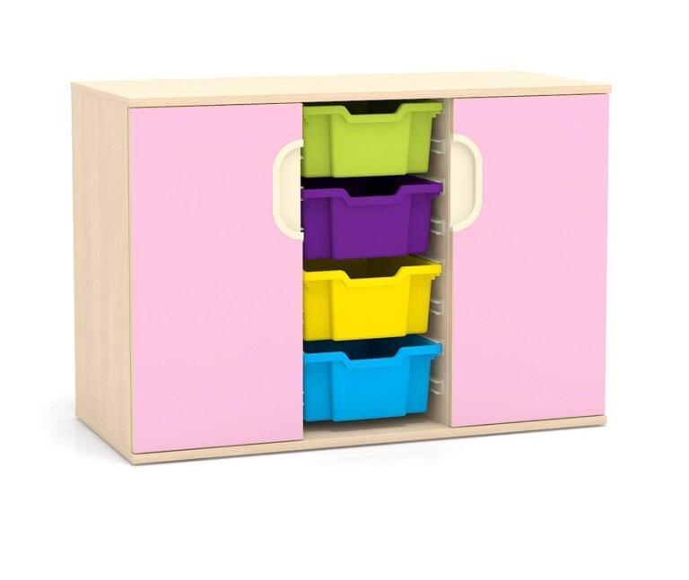 Nízká skříňka Fantasy, 2x dveře, vodicí lišty pro boxy, 1049 mm_1