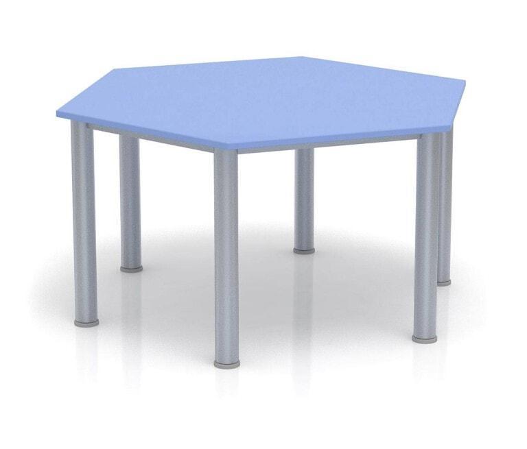 Dětský stůl Fantasy šestiúhelník, výška 600 - 710 mm modrá