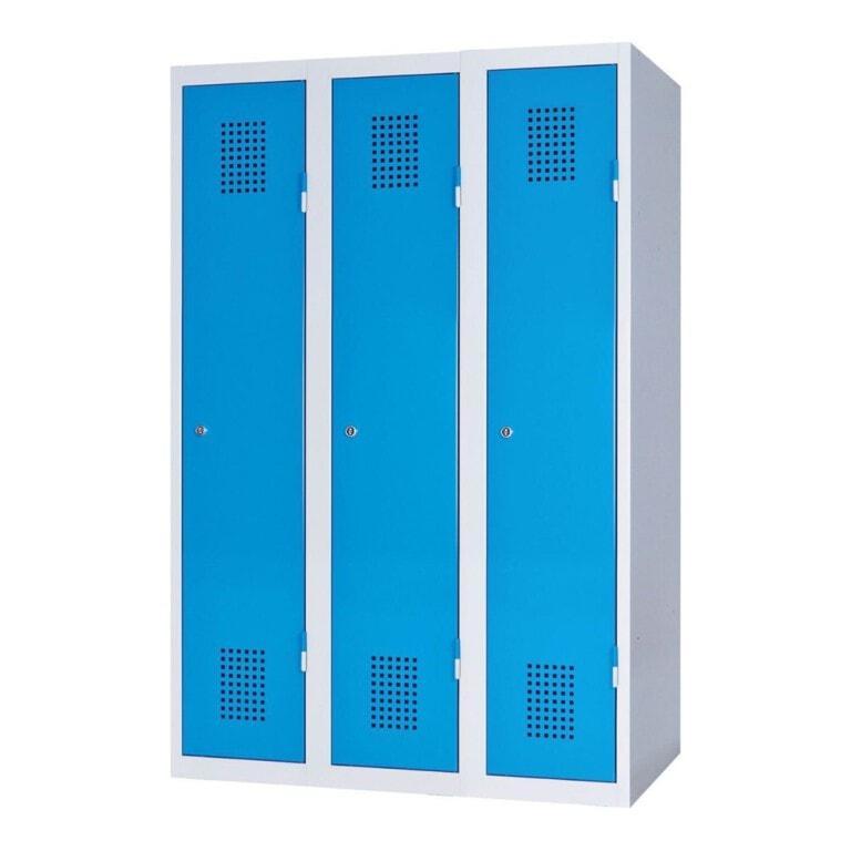 Kovová šatní skříňka třídveřová, 1500 mm