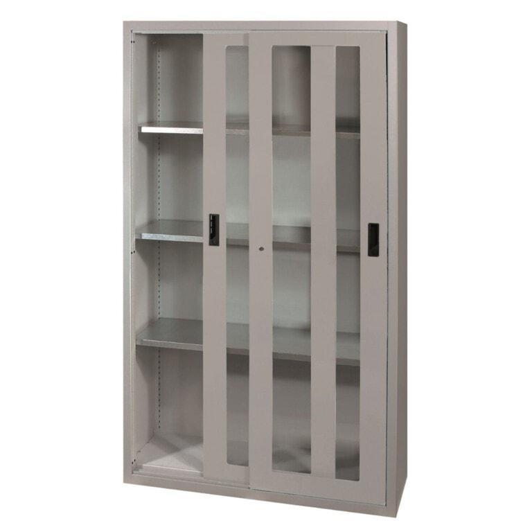 Skříň do dílny s posuvnými skleněnými dveřmi