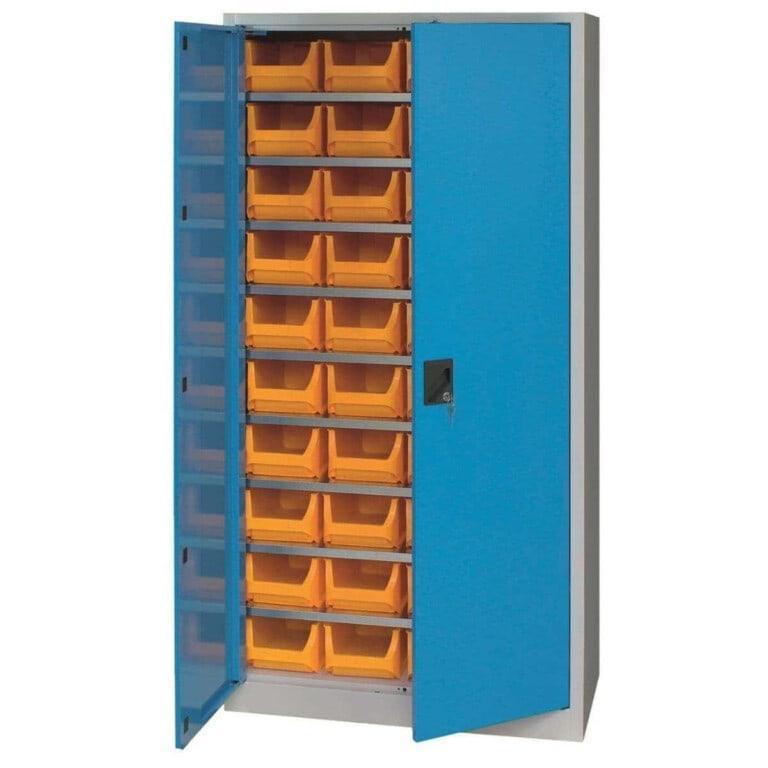Skříň do dílny s plastovými boxy s dveřmi
