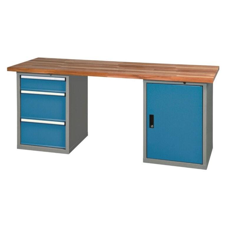 Stůl do dílny se skříňkou a 3 zásuvkami