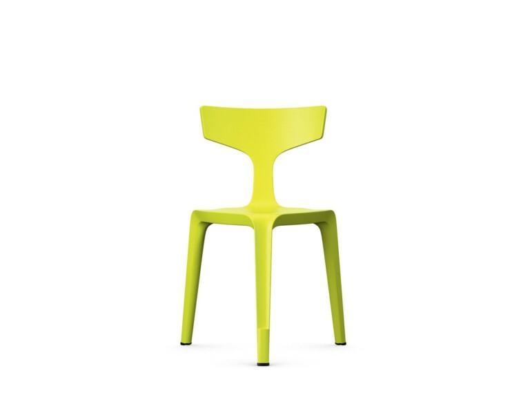 Trojnohá plastová židle Stakki žlutá